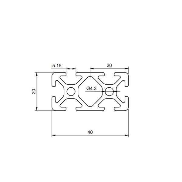 Aluminum profile 4020 groove 5
