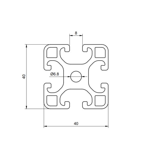 Алюминиевый профиль 4040 паз 8