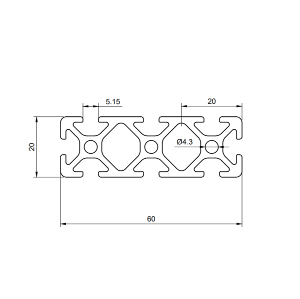 Perfil de aluminio 6020 ranura 5
