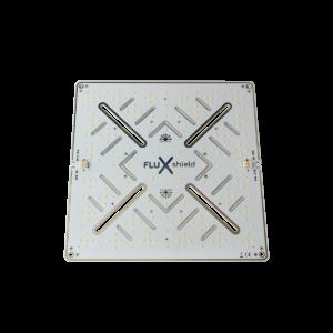 Vista dall'alto della scheda LED argento FLUXshield